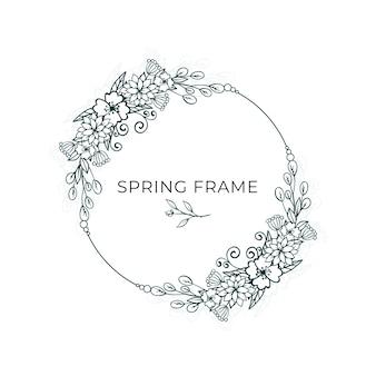 Conception de cadre de printemps minimaliste de feuilles et de fleurs