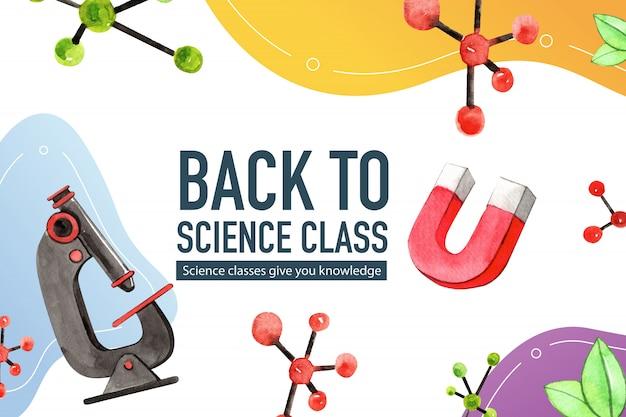 Conception de cadre de science avec aimant, illustration aquarelle de microscope.