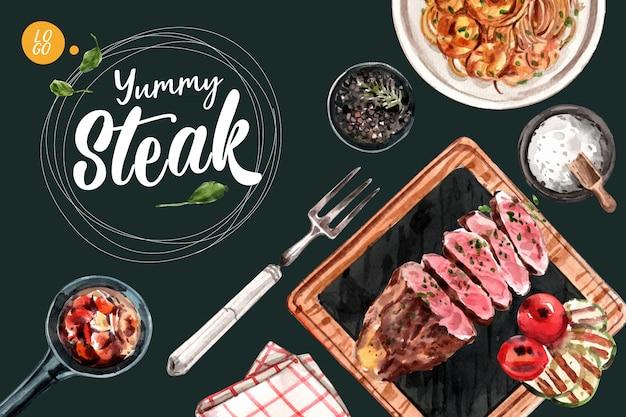 Conception de cadre de steak avec des spaghettis, illustration aquarelle de viande grillée.