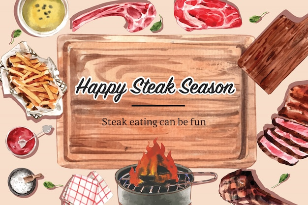 Conception de cadre de steak avec de la viande grillée, illustration aquarelle de frites.