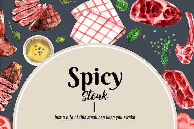 Conception de cadre de steak avec de la viande grillée, illustration aquarelle de serviettes.
