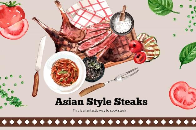 Conception de cadre de steak avec de la viande grillée, illustration aquarelle de spaghetti.