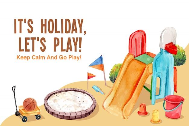 Conception de cadre de terrain de jeu avec toboggan, bac à sable, illustration aquarelle de seau.