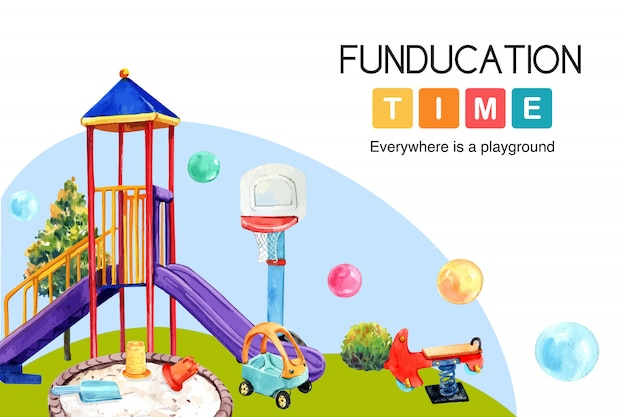 Conception de cadre de terrain de jeu avec toboggan, ballon, illustration aquarelle de bac à sable.