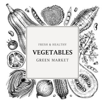 Conception de cadre de vecteur de festival de récolte légumes herbes champignons toile de fond