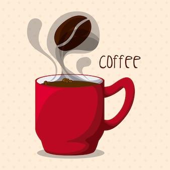 Conception de café au cours de l'illustration vectorielle fond rose