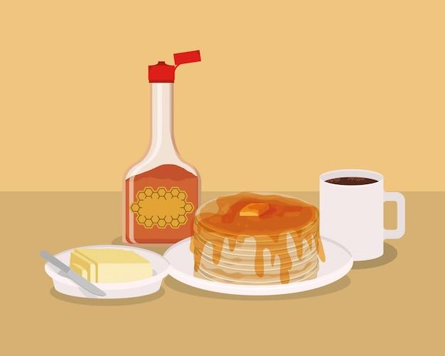 Conception de café et de crêpes de petit déjeuner, prime de marché naturel de produit frais de nourriture et thème de cuisine illustration vectorielle