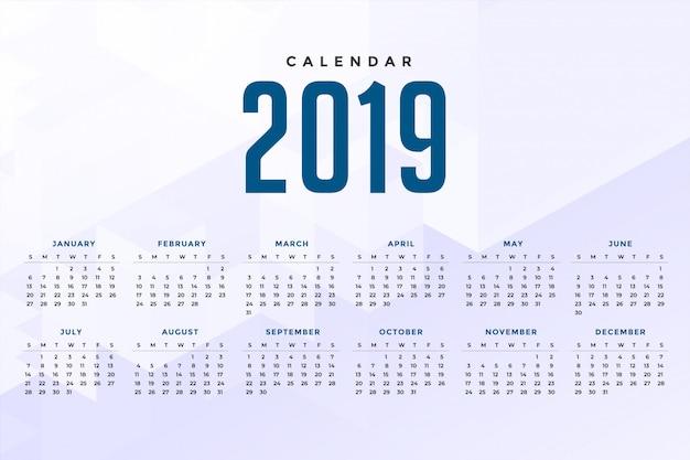 Conception de calendrier 2019 blanc minimal