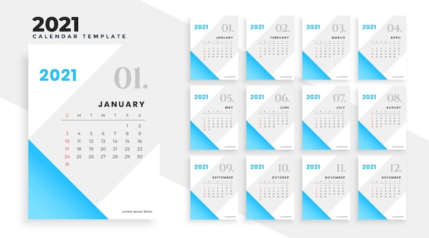 Conception de calendrier bleu 2021 dans un style simple