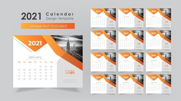 Conception de calendrier de bureau 2021