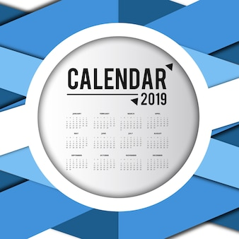Conception de calendrier coloré vecteur 2019