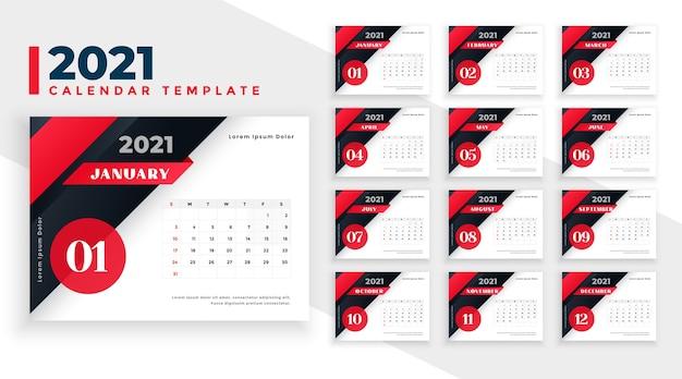 Conception de calendrier du nouvel an 2021 dans les couleurs rouge et noir