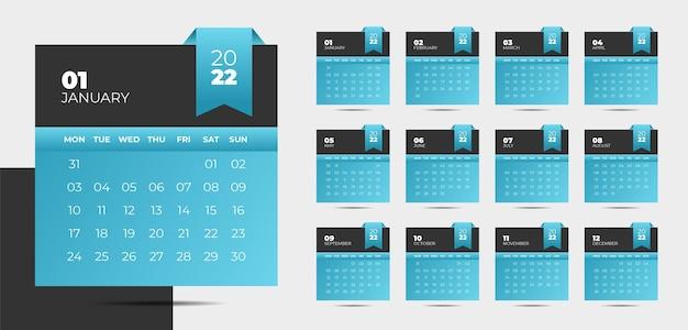 Conception de calendrier du nouvel an 2022 de style moderne dans un style ruban