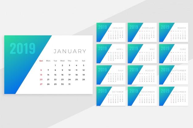 Conception de calendrier mensuel bleu minimal propre pour 2019
