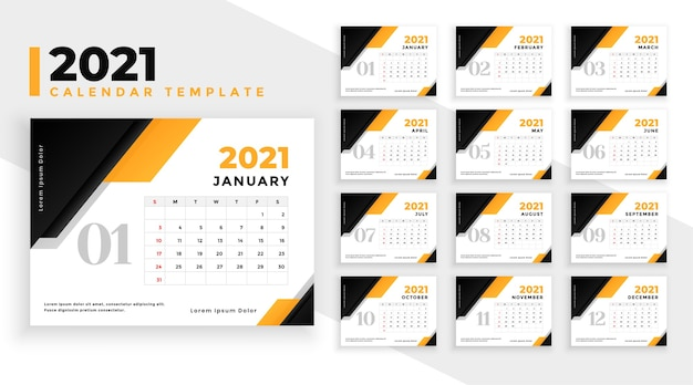 Conception de calendrier moderne du nouvel an 2021 dans un style géométrique