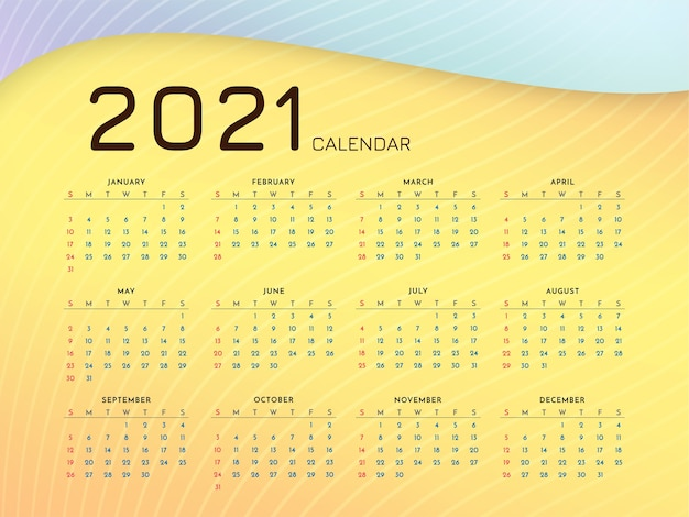 Conception de calendrier moderne du nouvel an 2021
