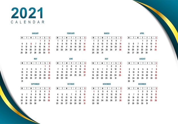 Conception de calendrier professionnel 2021