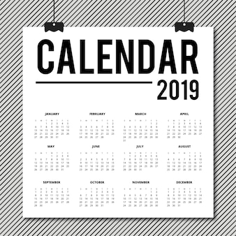 Conception de calendrier de vecteur 2019
