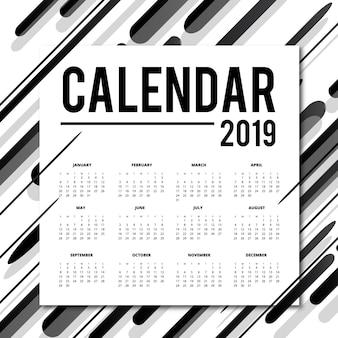 Conception de calendrier de vecteur 2019