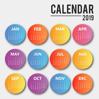 Conception de calendrier de vecteur coloré 2019