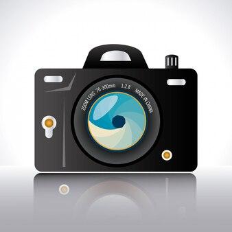 Conception de la caméra au cours de l'illustration vectorielle fond blanc