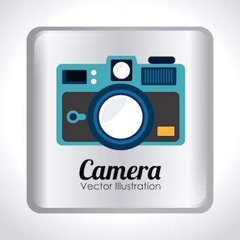 Conception de la caméra au cours de l'illustration vectorielle fond gris