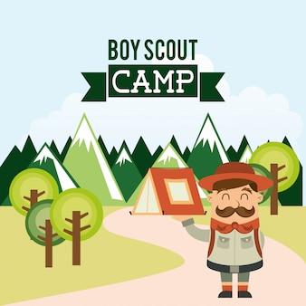 Conception de camping sur illustration vectorielle fond ciel