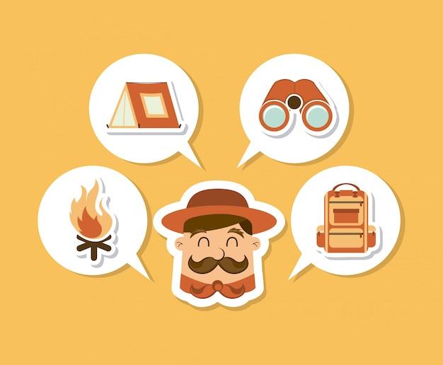 Conception de camping sur illustration vectorielle fond crème