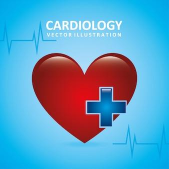 Conception de cardiologie au cours de l'illustration vectorielle fond bleu