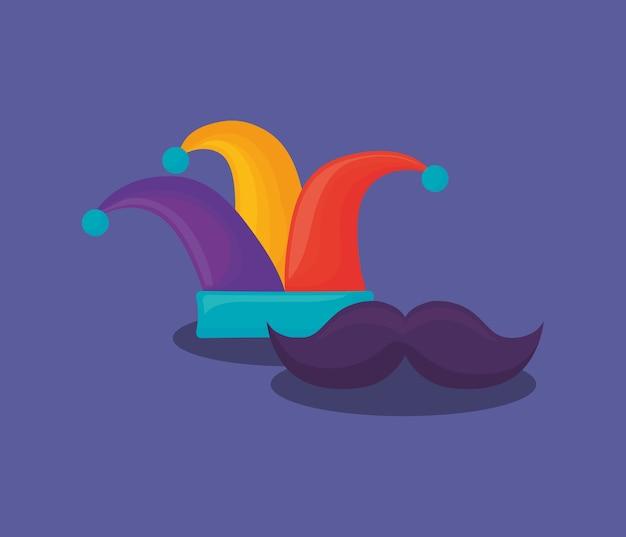 Conception de carnaval avec chapeau de bouffon et moustache