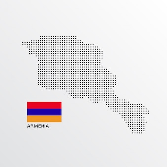 Conception de carte d'arménie avec drapeau et vecteur de fond clair