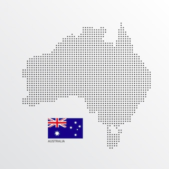 Conception de carte de l'australie avec le drapeau et le vecteur de fond clair
