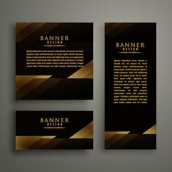 Conception de carte de bannière de modèle or premium foncé