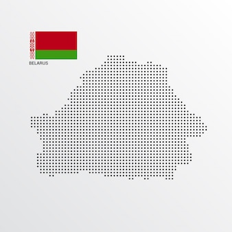 Conception de carte de biélorussie avec drapeau et vecteur de fond clair