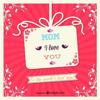 La conception de carte de cadeau de jour de vecteur de la mère