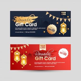 Conception de carte-cadeau ramadan avec les meilleures offres en deux couleurs.