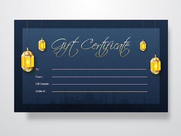 Conception de carte de certificat cadeau avec décoration de couleur dorée lan