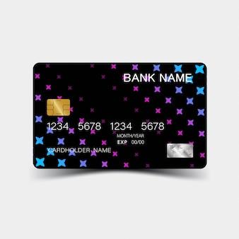 Conception de carte de crédit dégradé violet. sur le fond gris.