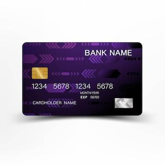 Conception de carte de crédit moderne de couleur violette et noire.