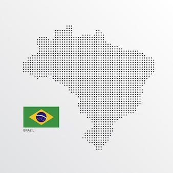 Conception de carte du brésil avec le drapeau et le vecteur de fond clair