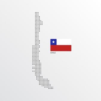 Conception de carte du chili avec drapeau et vecteur de fond clair