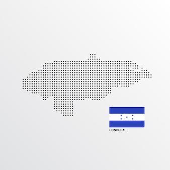 Conception de carte du honduras avec le drapeau et le vecteur de fond clair