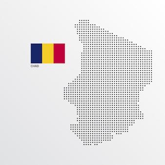 Conception de carte du tchad avec drapeau et vecteur de fond clair