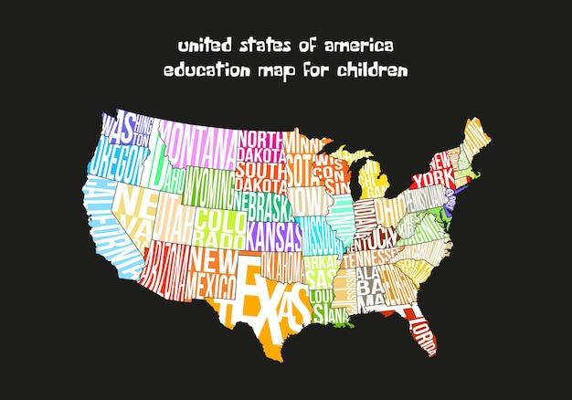 Conception de carte des états-unis pour le matériel éducatif des enfants. illustration vectorielle. noms d'état de style de lettrage sur un graphique plat coloré. impression du territoire de l'amérique du nord. art drôle sur fond noir avec titre.