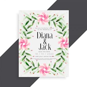 Conception de carte de fleur rose belle invitation de mariage
