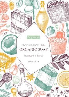 Conception de carte ou de flyer de savon biologique en couleurs matériaux aromatiques et ingrédients esquissés à la main