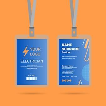 Conception de la carte d'identité d'électricien