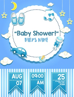 Conception de carte d'invitation de douche de bébé pour garçon
