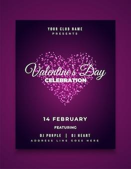 Conception de carte d'invitation, de flyer ou d'affiche de fête de la saint-valentin avec des feux d'artifice de coeur rougeoyant