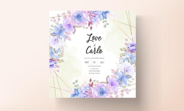 Conception de carte d'invitation de mariage de fleurs et de feuilles élégantes